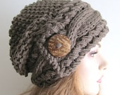 Slouchy Beanie Cable Slouch Hats Wood Button Braided sideways Cable Hat womens fall winter accessory Taupe Super Chunky Hand Made Knit