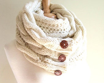 Infinity Scarf Braided Cable Lightweight Knit Circle Loop Neckwarmer Scarves with Buttons  Ivory Cream Women Girls Accessories