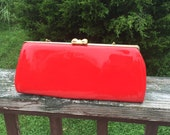 Purse Red Patent Leather Handbag Cocktail Purse Clutch