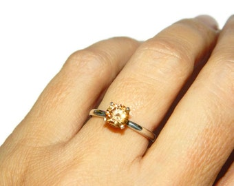 1 Carat Citrine Ring, Manmade Stone, Sterling Silver