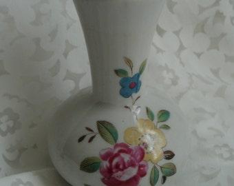 Shabby Vase Rose Cottage Chic Tiny White Vintage