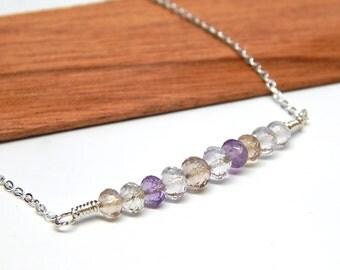 Ametrine necklace, gemstone bar necklace, February birthstone necklace, ametrine jewelry, minimalist