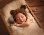 Newborn Fuzzy Bear Bonnet
