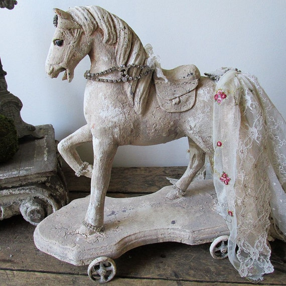 hand painted wooden horse statue rustic farmhouse fancy. Black Bedroom Furniture Sets. Home Design Ideas