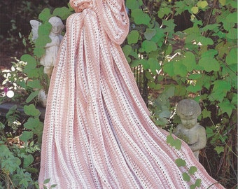 Crochet Afghan Pattern, Home Decor, Bedspread, Couch Sofa Throw Blanket, Mile A Minute - The Needlecraft Shop - Peach Pleasure