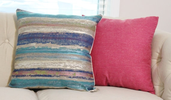 Navy And Teal Throw Pillows: Multi Colored Striped Pillow Platinum Gray Silver Teal