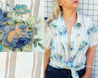 BLUE ROSES Striped Sheer Short Sleeve Button Down White and Blue Shirt