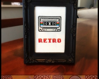 Retro Cassette Cross Stitch Pattern (Printable PDF) - Immediate Download from Etsy - Vintage / Music Tape