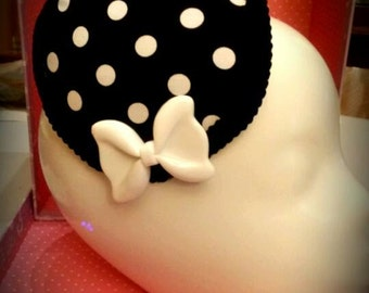 Black and White polka dot Fascinator Cosplay burlesque Halloween Mini Hat pin-up