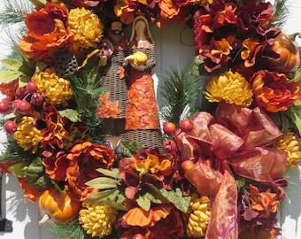 Thanksgiving Wreath, Thanksgiving Door Wreath, Thanksgiving Decor, Country Door Wreath, Pilgrim, Peonies, Fall Door Wreath, Pumpkin Wreath