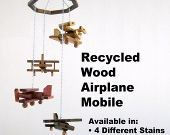Recycled Wood Airplane Mobile with Four Different Planes - Available in 4 Different Stains or Dark Walnut - Ages 0 - 99+