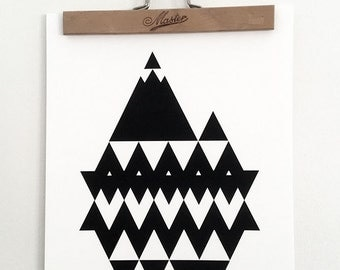 Mountain Eyeland #1 - Beautiful illustration, graphic pattern, geometric poster, black and white poster, wall art, digital art prints,