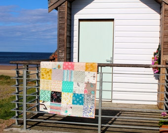 Patchwork Lap Quilt, Sofa Throw, Modern Baby Blanket Geometric Print, Homemade quilt
