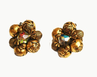 Brass Bead cluster clip on earrings with Aurora Borealis crystal bead