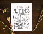 Philippians 4:13, Bible Verse Cards, Encouragement Card, Christian Card