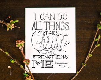 Philippians 4:13, Bible Verse Cards, Encouragement Card, Christian Card
