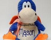 Personalized Blue & Orange Dragon Stuffed Animal