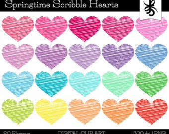 Digital Clipart-Scribble Hearts-Springtime Colors-Doodle Hearts-Heart Graphics-Digital Scrapbook Elements-Instant Download Clip Art