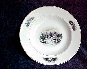 Antique Porcelain Soup Bowl - Hand Painted Winter Scene with Castle and Bird - Castle in Moonlight - Vintage Germany or Austria Ceramic Dish