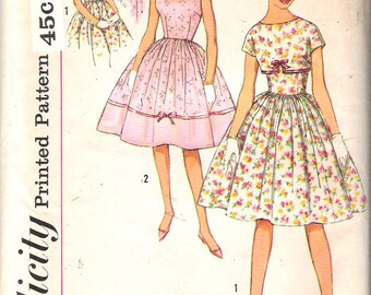 """Vintage 1959 Simplicity 2932 Sub-Teen One Piece Dress & Jacket Sewing Pattern Size 10s Bust 29"""" UNCUT"""