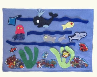 Felt Under The sea Play mat game, Roll Up Playmat Travel Toy