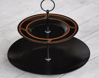 """Cupcake Stand: """"Spade"""" 2 Tier Cake Stand, Cake Stand, Black and Red Modern Cake Stand, Gourmet Gift, For Him"""