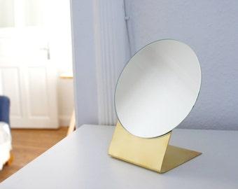 Brass table mirror