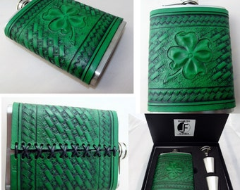 Custom hand tooled leather covered flask. Your image/design or idea.