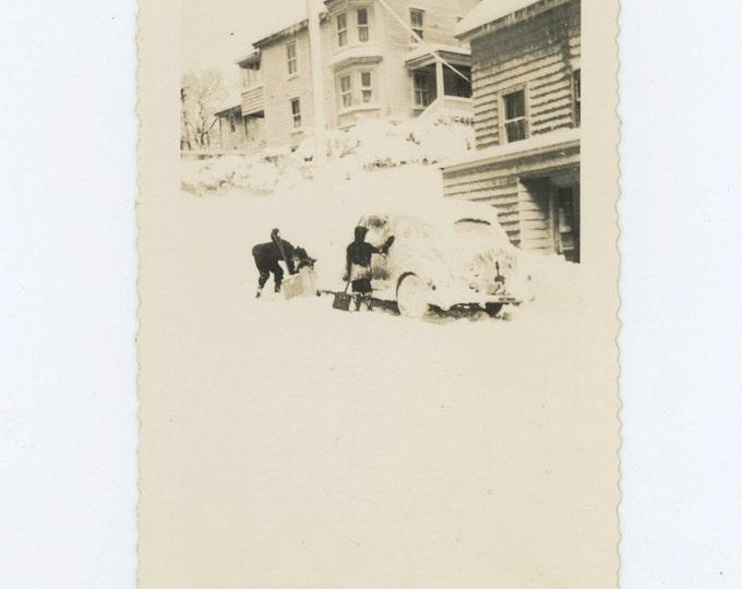 Digging Out, 1945 Vintage Snapshot Photo {57392)
