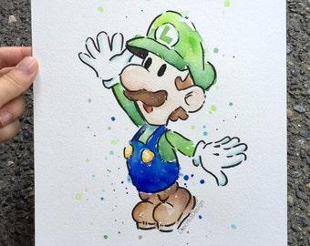 "Luigi ORIGINAL Watercolor Painting, Geek Art, Nintendo Mario Character 9x12"""
