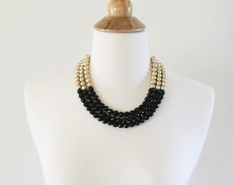 Black and Gold Statement Necklace, Black Beaded Necklace, Gold Bib Necklace, Beaded Neutral Necklace