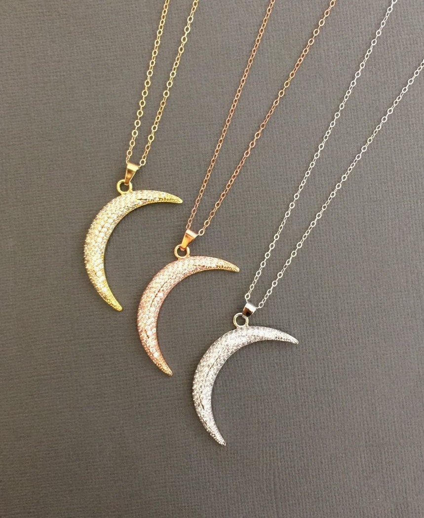 Large Crescent Moon Necklace Moon Necklace Moon charm CZ