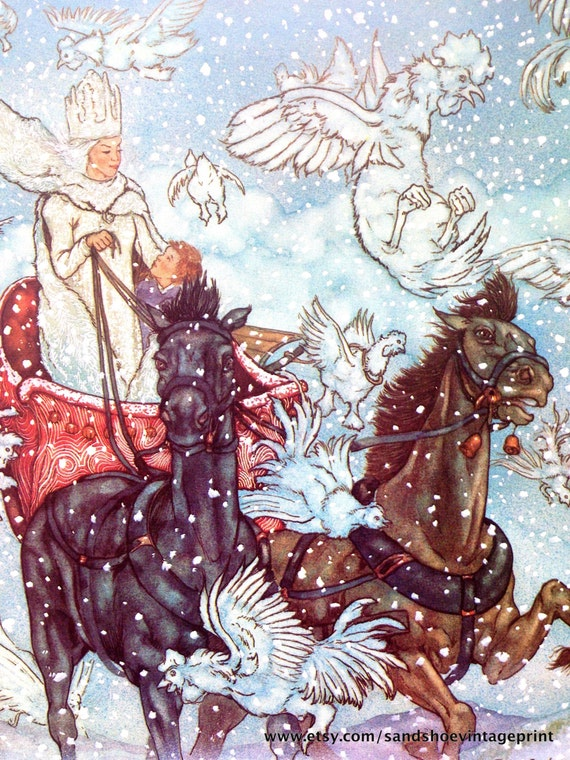 1981 snow queen michael hague print for hans christian for Michaels arts and crafts queens