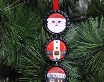 Santa Claus Bottle Cap Christmas Ornament, Christmas Gift, Package Decoration, Stocking Stuffer, Party favor, Teacher gift, Best friend gift
