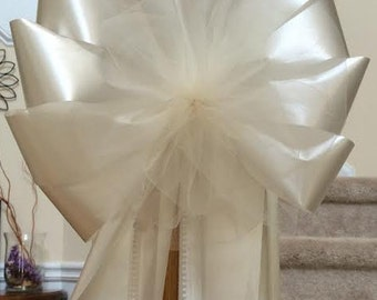 "extra large white or ivory 12"" wide 29 "" long tulle and ribbon add your flowers lots of tulle wedding pew chair bows decorations"