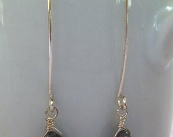 Labradorite & Silver Wire Wrapped Dangle Earrings