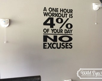 No Excuses Workout Room Wall Vinyl -a one hour workout is 4 percent of your day- No Excuses- Weight room Exercise room home gym wall HH2120
