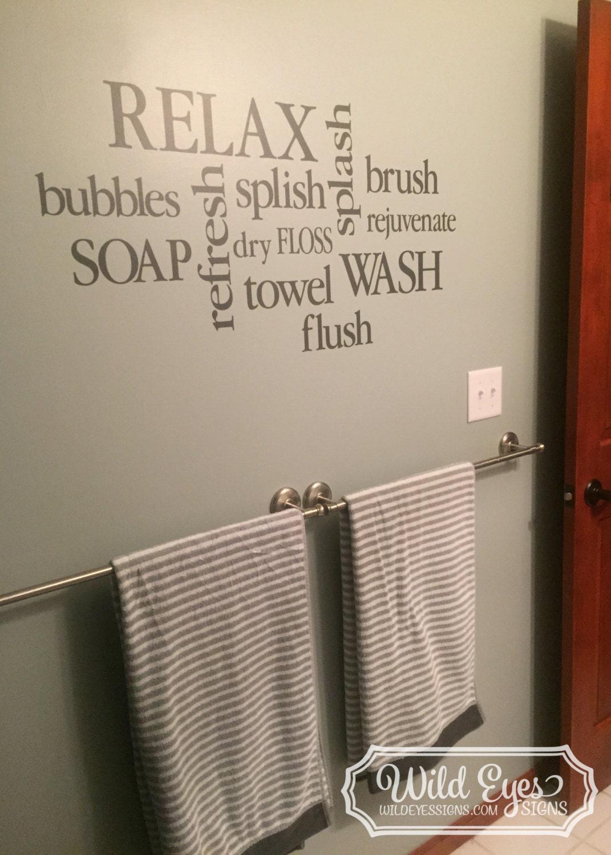 Wall decal bathroom decor sign bathroom subway art for Bathroom decor for sale