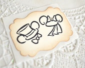 Mouse Ears Wedding Vintage Style Name Stickers - Bride and Groom