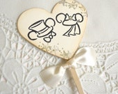 Mouse Ears Wedding Shabby Heart Shaped Cupcake Toppers/Food Picks