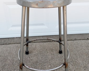 "Vintage, Krueger, Metal Stool, Industrial, Shop Stool, Grey, Steel, Stool, Counter Height, 24"" High, Kitchen, Dining Room, Seating"