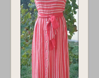 SALE-70s red and white striped and polka dot maxi dress, matching belt, pearl buttons, no sleeve, original, formal, prom dress, Greece