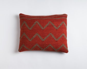 "Hills and Streams - Red / 14""x20""  Kilim Pillow"