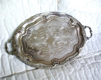 Worldly vintage oval serving tray, ornate, metal. X-large & heavy. Silvertone serveware, silver tone, etching, houseware. Weathered. Decor