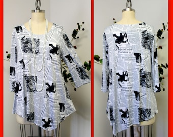 Dare2bstylish In Style Travelers News paper Print Tunic top Small to 3XL. Plus Top, Asymmetrical Top Tunic