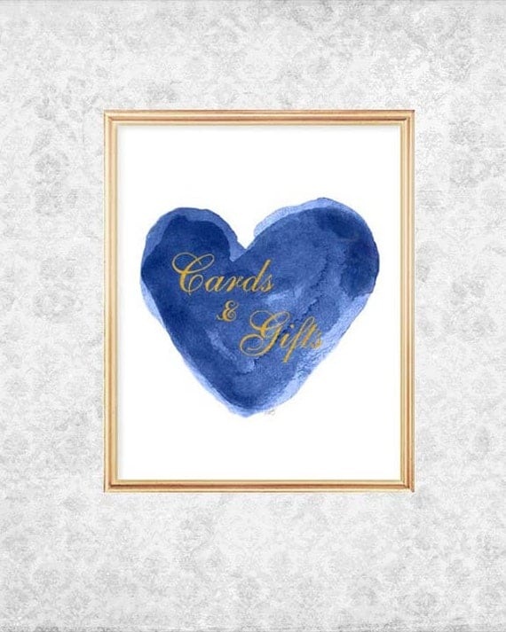 Cards and Gifts Sign in Navy, 8x10 Wedding Sign