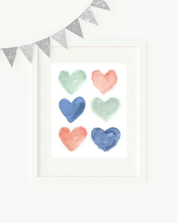 Coral Mint Navy Children's Wall Decor, 8x10 Hearts Print