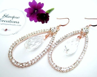 Rose Gold Crystal Statement Bridal Earrings