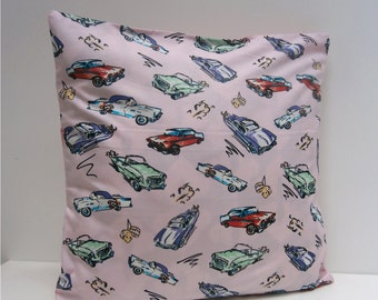 Pink Cadillac Classic Car Pillow / Cushion cover