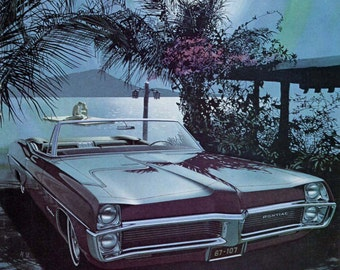1967 Pontiac Convertible Vintage Car Ad Fitzpatrick and Kaufman, Wide Track, 1960s Auto Advertising Artwork